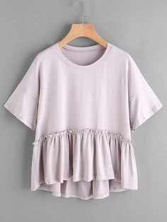 SheIn offers Frill Trim Dip Hem Smock Tee & more to fit your fashionable needs. Outfits For Teens, Casual Outfits, Cute Outfits, Affordable Clothes, Cheap Clothes, Cheap Dresses, Forward Clothing, Clothing Sites, Trendy Clothing