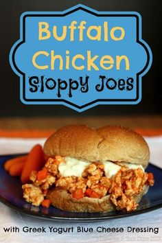 {Healthier} Buffalo Chicken Sloppy Joes for #SundaySupper