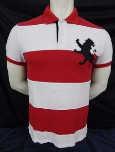 Express Polo Rugby Shirt Size M Medium Red & White Striped Short Sleeve  #Express #PoloRugby