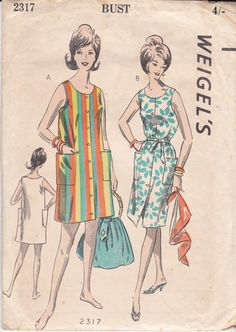 60s Beach Shift Dress Pattern Weigels 2317 by allthepreciousthings
