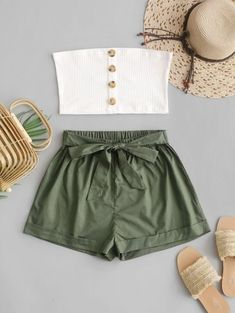 Buy ZAFUL Two Piece Buttoned Ribbed Bandeau Top Set in the online store - TopTrendBrand Cute Teen Outfits, Cute Comfy Outfits, Teenage Outfits, Cute Summer Outfits, Outfits For Teens, Pretty Outfits, Stylish Outfits, Cute Summer Tops, Emo Outfits