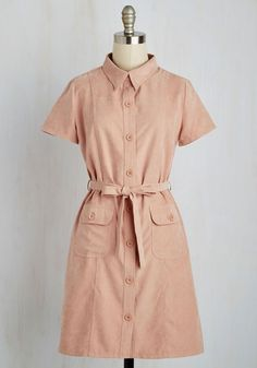 Quintessential Cafe Dress. Perfection differs for everyone, but we can all agree that enjoying a cappuccino in this buttoned shirt dress sounds absolutely ideal. #pink #modcloth
