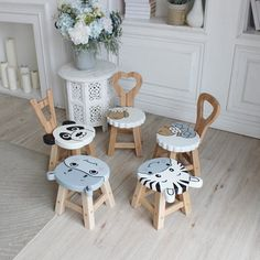 Diy Furniture Table, Diy Furniture Plans, Kids Furniture, Plywood Furniture, Hand Painted Chairs, Wood Steps, Kids Stool, Wooden Animals, Wooden Stools