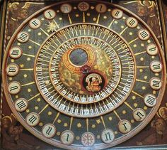 Wells Cathedral, England. The clock is one of the group of famous 14th to 16th century astronomical clocks. Mechanism, dated to between 1386 and 1392,
