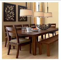 dining rooms - dining room, crate and barrel,  crate and barrel table, chairs and bench