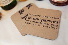 Cute! Wedding messages on coasters.