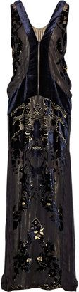 ShopStyle: Roberto Cavalli Devoré-velvet gown