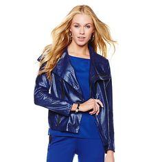 G by Giuliana Rancic Distressed Print Ponte Moto Jacket #LapisBlue #GbyGR