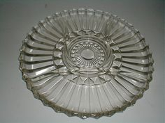 Heavy Clear Pressed Glass 5 Part Round Divided Relish