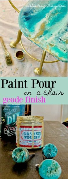 How to do a Geode-Paint-Pour on a Chair- Inspired by Anthropologie Drawer Knobs