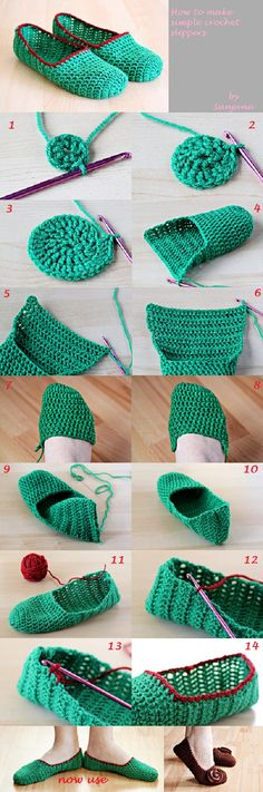 How to Make Simple Crochet Slippers >these look good. It's hard to find FREE decent adult slipper pattern. This you could add edging to and some buttons or as is :) Thanks for posting this tut :)