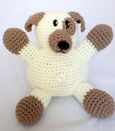Loyal cream and taupe dog. #Crocheted stuffed animal. Acrylic yarn and stuffing... can be machine washed. Perfect for young and old.