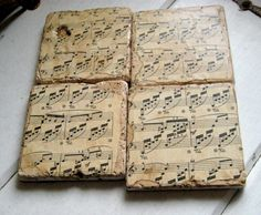 Classical Music Coasters vintage sheet music on by jensdreamdecor, $29.50