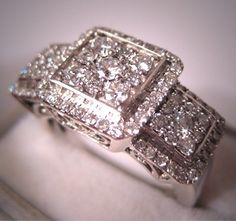 Estate Diamond Wedding Ring Vintage Deco Style 1.5ct  Band. $3,650.00, via Etsy.