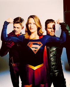 Grant Gustin, Melissa Benoist and Stephen Amell for EW.