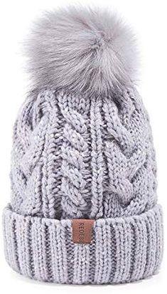 REDESS Women Winter Pom Pom Beanie Hat with Warm Fleece Lined 9b1e4bb180ad