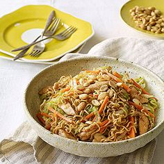 Fast-Fried Noodles with Chicken, Lettuce, Carrots, and Peanuts. Recipe from Parents.
