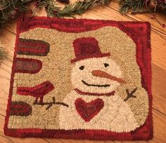 Christmas Rugs, Rug Hooking Designs, Penny Rugs, Wool Applique, Punch Needle, Red Rugs, Needle And Thread, Wool Rug, Primitive