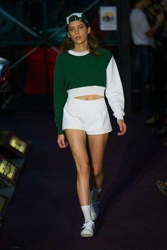 Jacquemus Spring 2014 (designer): cap + sweater + shorts + socks + white sneakers : quirk, tomboy look