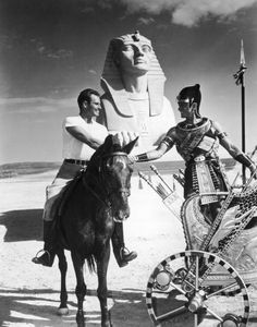"Charlton Heston & Yul Brynner on the set of ""The Ten Commandments""(1956)"