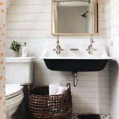 Brockway™ wall-mounted wash sink with 2 faucet holes Farmhouse Utility Sinks, Farmhouse Bathroom Sink, Bungalow Bathroom, Small Vintage Bathroom, Vintage Sink, Kohler Brockway Sink, Sink Faucets, Bathroom Inspiration, Bathroom Ideas