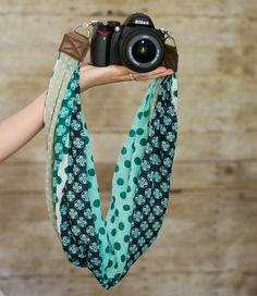DSLR Camera Strap  Teal Patterned Scarf by ImaniStudio on Etsy