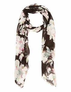 M&S Collection Modal Blend Lightweight Oriental Floral Scarf-Marks & Spencer