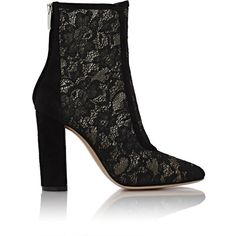 Gianvito Rossi Women's Lace & Suede Boleyn Booties ($479) ❤ liked on Polyvore featuring shoes, boots, ankle booties, ankle boots, colorless, black lace booties, black boots, suede booties and high heel ankle boots