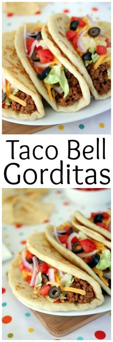 Taco Bell Gorditas - The gordita dough has a short rise time and is easy to work with. You don't even need a rolling pin! You can easily press them out into circles by hand.They cook up fast in a skillet and are best eaten warm. Taco Bell Recipes, Mexican Food Recipes, Burrito Recipes, Taco Recipe, Mexican Dishes, Best Italian Recipes, Favorite Recipes, Gorditas Recipe, Easy Dinner Recipes