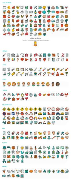 1000 Hand Drawn Doodle Icons by roundicons.com on Creative Market