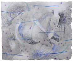 "Blue Horse / Charcoal, pastel, ink, and Colored Pencil on paper / 10 x 8.5"" / 2008"