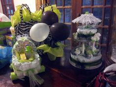 Lime green, black and white theme baby shower