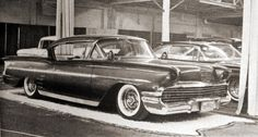 Last version, rolled pans and new paint. Late on the street in front of his shop in Lakewood., I live right down the street from here and the building is still there! 1958 Chevy Impala, Lead Sled, Kustom, Car Photos, Photo Archive, Custom Cars, Concept Cars, Hot Rods, Antique Cars
