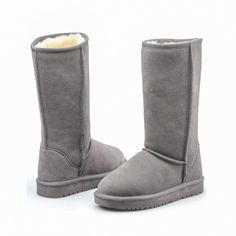 Cute Winter Warm Tall Leather Snow Boots Flat Shoes