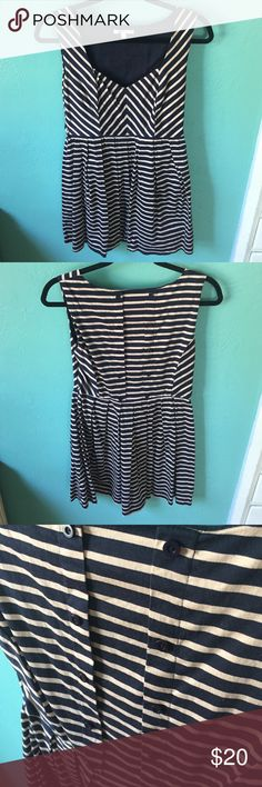 Striped Fit & Flare Striped button back fit & flare. Only worn a handful of times for work. The belt is missing. True to size. Monteau Dresses