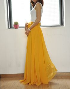 Beautiful Bow Tie Chiffon Maxi Skirt Silk Skirts Yellow Elastic Waist Summer Skirt Floor Length Long Skirt (037)(IN WHITE)