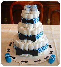 Bow Tie Diaper Cake | ... bow tie/chevron diaper cake – I love the little baby booties on top