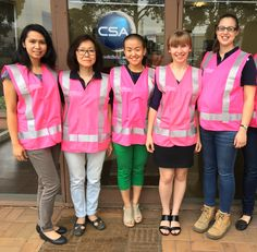 Some of the CSA girls in our new 'breast cancer awareness' safety vests. Purchased from pinkgear.com.au where $2 from every vest sale is donated to the National Breast Cancer Foundation.