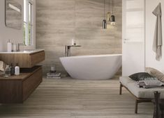 The More Collection from Castelvetro is an Italian made wood-look tile that provides all of the characteristics of natural wood in a durable, easy to maintain porcelain -- with no sanding or staining required! Wood Look Tile Floor, Wood Effect Tiles, Wood Tile Floors, Ceramic Floor Tiles, Bathroom Flooring, Tiles Direct, Weathered Wood, Bathroom Interior Design, Modern Bathroom