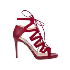 JIMMY CHOO Dani 100 Sandals (1,690 BAM) ❤ liked on Polyvore featuring shoes, sandals, heels, leather sole sandals, red sandals, high heel shoes, red shoes and lace up heel sandals