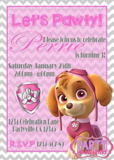 PRINTABLE INVITATION Paw Patrol Skye By PartyHeadquarters Birthday Cake