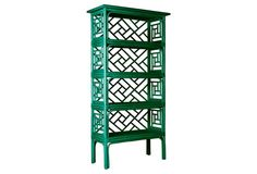 Leather-wrapped joints give additional strength as well as a textural contrast to this rattan-frame bookshelf, designed in the classic Chinese Chippendale style. At nearly six feet high, with four...