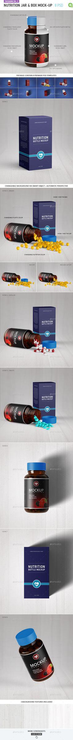 Nutrition jar and box mock-up #design Download: http://graphicriver.net/item/nutrition-jar-and-box-mockup/12221628?ref=ksioks