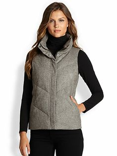 Eileen Fisher - Tweed Puffer Vest - Saks.com $338 Can all of my friends get together and buy me this for Xmas? Lol please