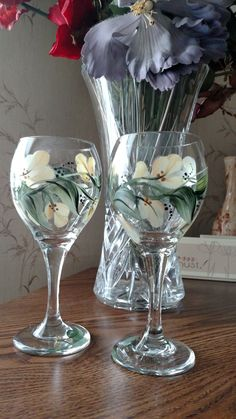 This is one of my favorite floral designs to paint on wine glasses ~ by Pat Z