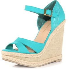 Aqua split wedges (1,125 INR) ❤ liked on Polyvore featuring shoes, sandals, wedges, heels, blue, blue sandals, dorothy perkins, wedge heel shoes, blue wedge sandals and aqua shoes