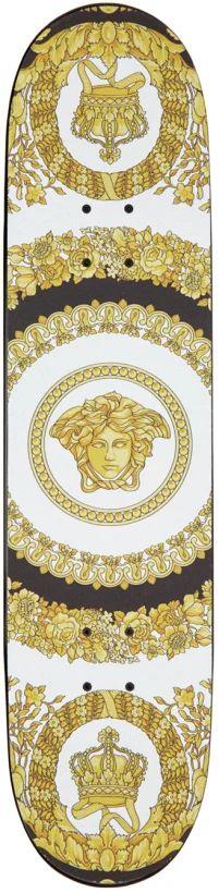 Versace: White & Gold Vintage Logo Skateboard | SSENSE Teen Boy Fashion, Skateboard Decks, Gold Wood, Graphic Patterns, Versace, White Gold, Kids Rugs, Logo, Fashion Design
