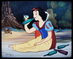Snow White - The Dark Side of Disney Disney Punk, Arte Disney, Disney Pixar, Bad Princess, Alternative Disney, Twisted Disney, Mexican Artists, Art Series, Disney Memes
