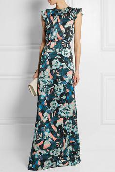 Erdem|Rylie floral-print washed-silk gown|NET-A-PORTER.COM