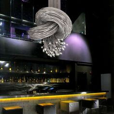 """The Knot  ::      Take one Spiroflex wand and tie a knot and you have an interesting piece. Do that with say 65, then light up each of the ends with an LED and you have a stunning sculptural chandelier. Dimensions shown 800mm (2' 6"""") dia. Available in different sizes and finishes.    Design by: DaSomm Choi."""